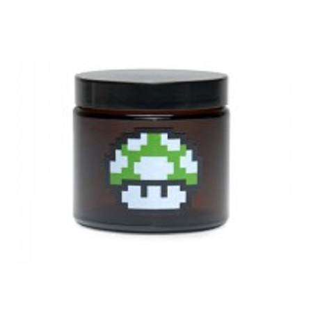 420 1 up Mushroom Amber Screw Top Jar