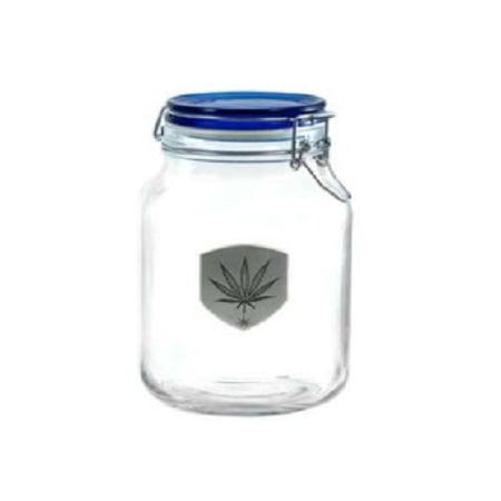 420 Latch Top Stash Jar with Pewter Marijuana Leaf Medallion