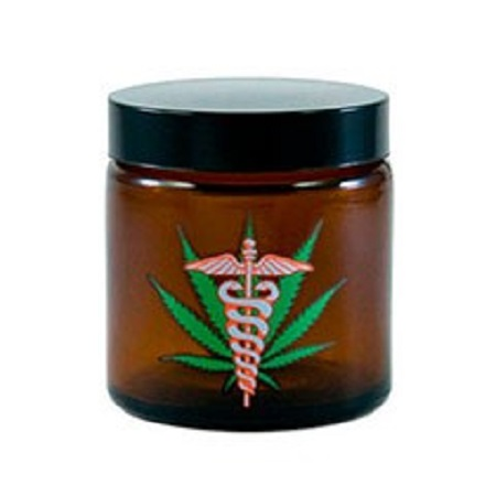 420 Medical Leaf Amber Screw Top Jar