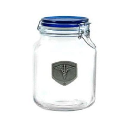 420 Latch Top Jar with Pewter Medical Medallion Emblem