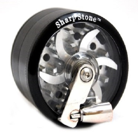 SharpStone Clear Top Hand Crank 4 Piece Grinder - Black