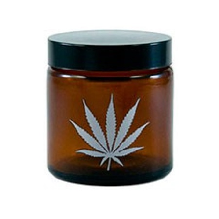 420 Silver Leaf Amber Screw Top Jar
