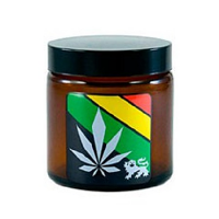 420 Rasta Leaf Amber Screw Top Jar