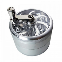 SharpStone Clear Top Hand Crank 4 Piece Grinder - Silver